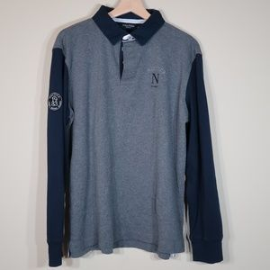 Nautica Solid Gray & Blue Long-Sleeve Shirt